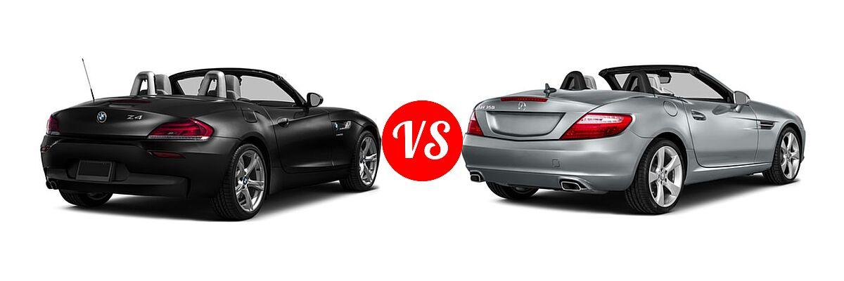 2016 BMW Z4 Convertible sDrive28i / sDrive35i / sDrive35is vs. 2016 Mercedes-Benz SLK-Class Convertible SLK 350 - Rear Right Comparison