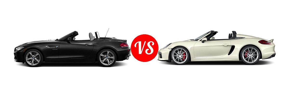 2016 BMW Z4 Convertible sDrive28i / sDrive35i / sDrive35is vs. 2016 Porsche Boxster Convertible Spyder - Side Comparison