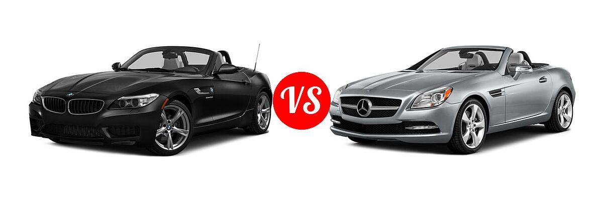 2016 BMW Z4 Convertible sDrive28i / sDrive35i / sDrive35is vs. 2016 Mercedes-Benz SLK-Class Convertible SLK 350 - Front Left Comparison