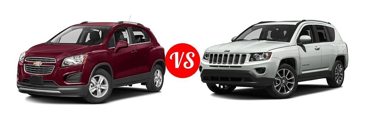 2016 Chevrolet Trax SUV LT vs. 2016 Jeep Compass SUV 75th Anniversary / Latitude / Sport / Sport SE Pkg - Front Left Comparison