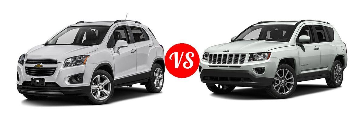 2016 Chevrolet Trax SUV LTZ vs. 2016 Jeep Compass SUV 75th Anniversary / Latitude / Sport / Sport SE Pkg - Front Left Comparison
