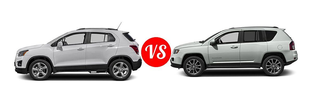 2016 Chevrolet Trax SUV LTZ vs. 2016 Jeep Compass SUV 75th Anniversary / Latitude / Sport / Sport SE Pkg - Side Comparison