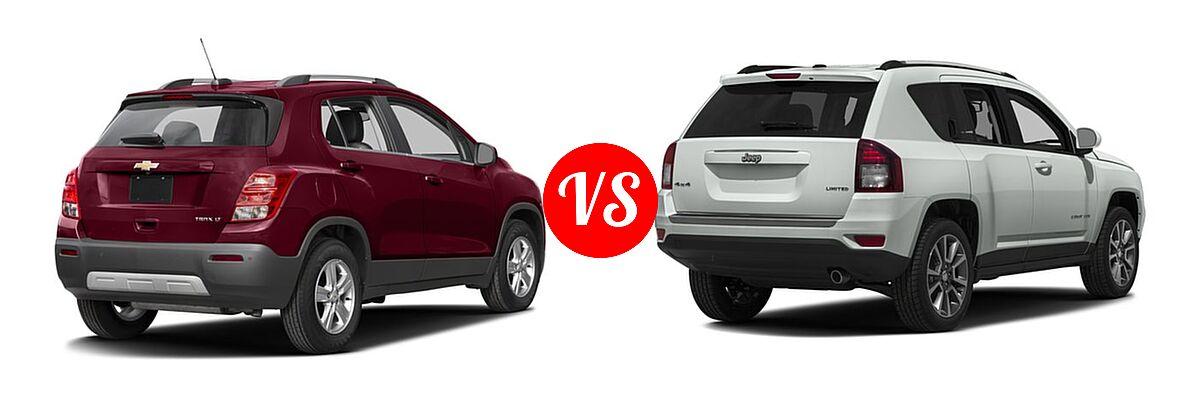 2016 Chevrolet Trax SUV LT vs. 2016 Jeep Compass SUV 75th Anniversary / Latitude / Sport / Sport SE Pkg - Rear Right Comparison