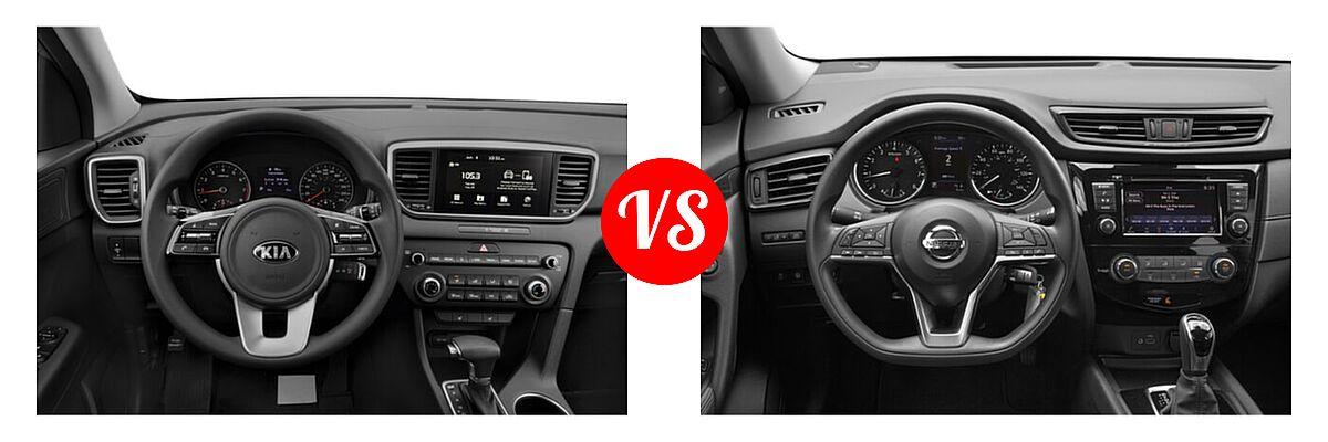 2020 Kia Sportage SUV EX / LX / S / SX Turbo vs. 2020 Nissan Rogue SUV S / SV - Dashboard Comparison