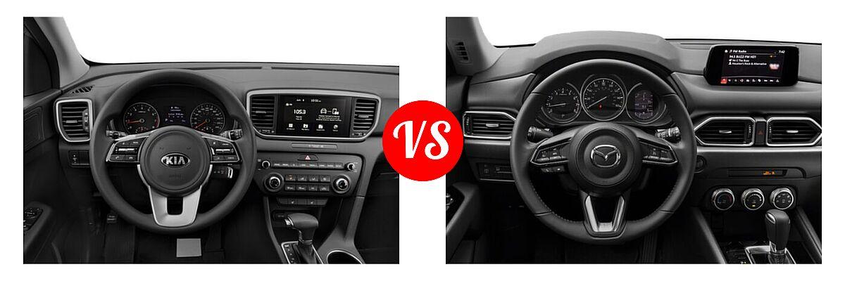 2020 Kia Sportage SUV EX / LX / S / SX Turbo vs. 2020 Mazda CX-5 SUV Sport - Dashboard Comparison
