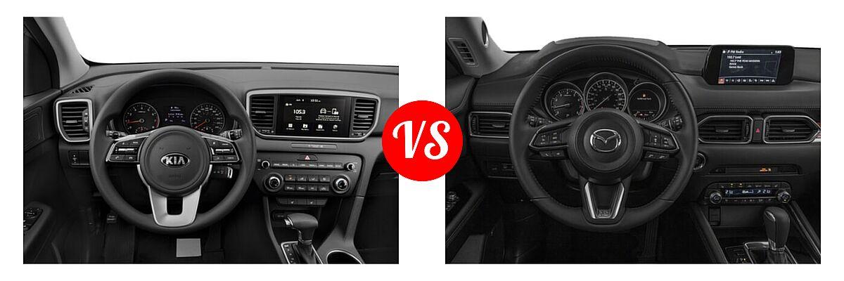 2020 Kia Sportage SUV EX / LX / S / SX Turbo vs. 2020 Mazda CX-5 SUV Grand Touring - Dashboard Comparison