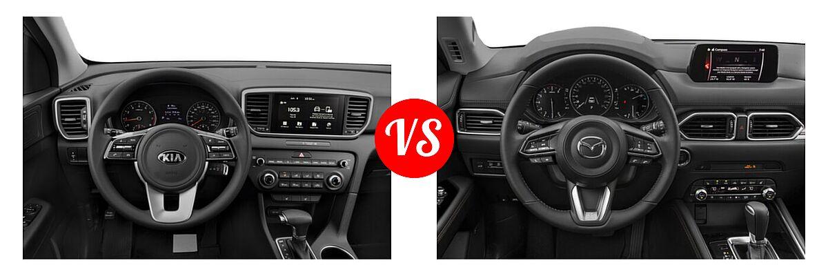 2020 Kia Sportage SUV EX / LX / S / SX Turbo vs. 2020 Mazda CX-5 SUV Grand Touring Reserve - Dashboard Comparison