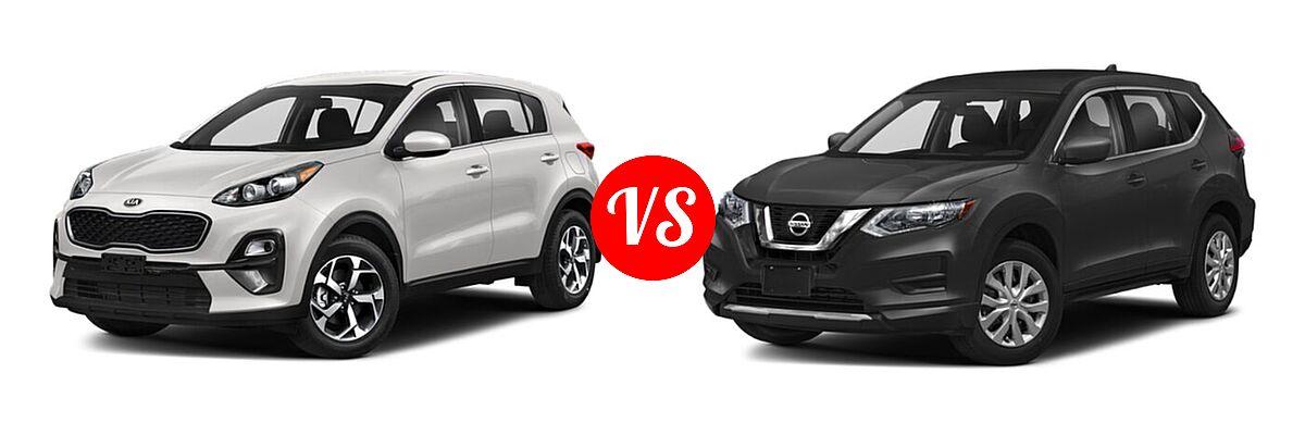 2020 Kia Sportage SUV EX / LX / S / SX Turbo vs. 2020 Nissan Rogue SUV S / SV - Front Left Comparison