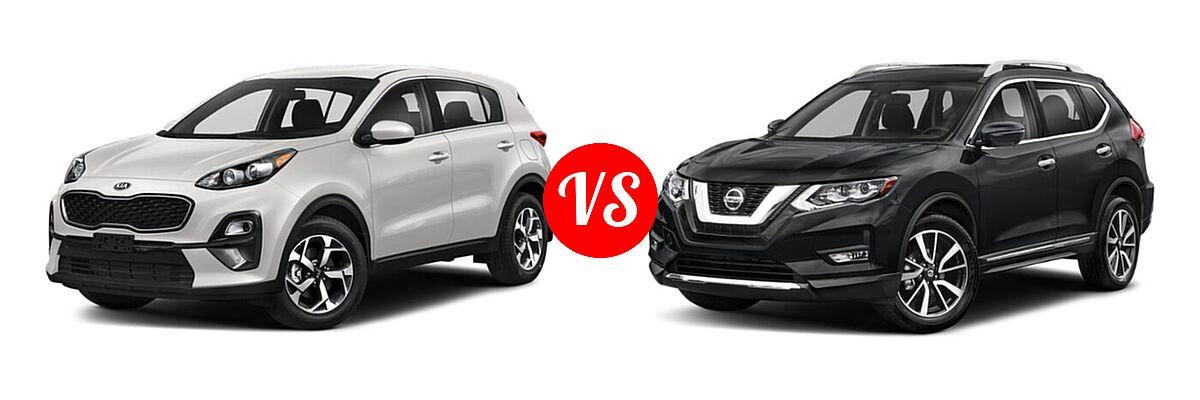2020 Kia Sportage SUV EX / LX / S / SX Turbo vs. 2020 Nissan Rogue SUV SL - Front Left Comparison