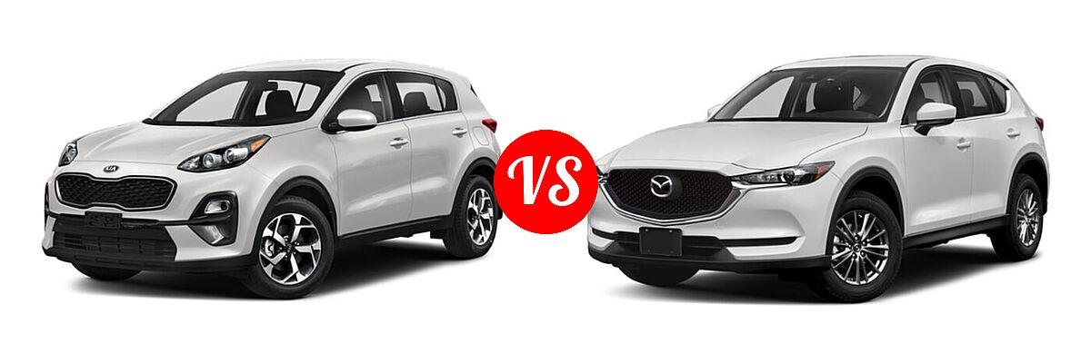 2020 Kia Sportage SUV EX / LX / S / SX Turbo vs. 2020 Mazda CX-5 SUV Sport - Front Left Comparison