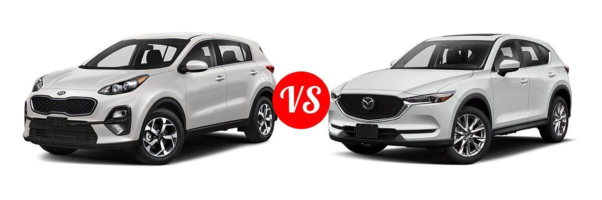 2020 Kia Sportage SUV EX / LX / S / SX Turbo vs. 2020 Mazda CX-5 SUV Grand Touring Reserve - Front Left Comparison