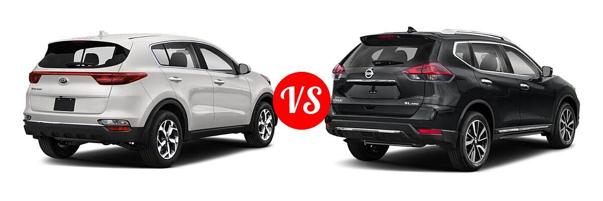 2020 Kia Sportage SUV EX / LX / S / SX Turbo vs. 2020 Nissan Rogue SUV SL - Rear Right Comparison