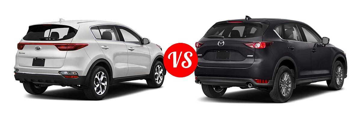 2020 Kia Sportage SUV EX / LX / S / SX Turbo vs. 2020 Mazda CX-5 SUV Touring - Rear Right Comparison