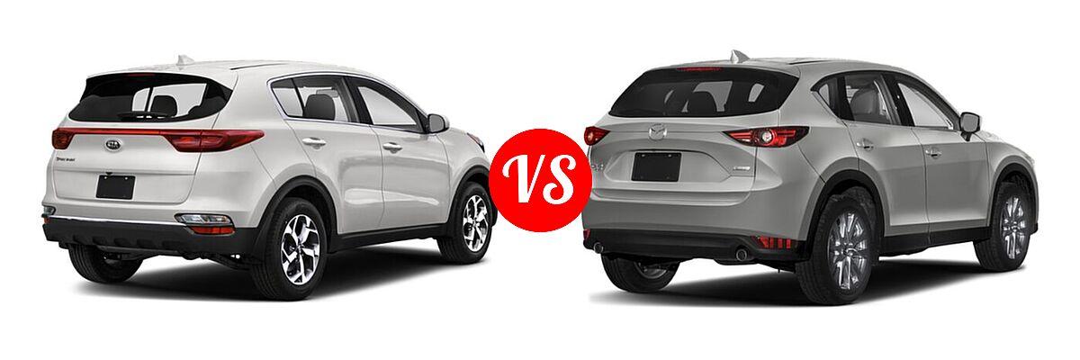 2020 Kia Sportage SUV EX / LX / S / SX Turbo vs. 2020 Mazda CX-5 SUV Grand Touring - Rear Right Comparison