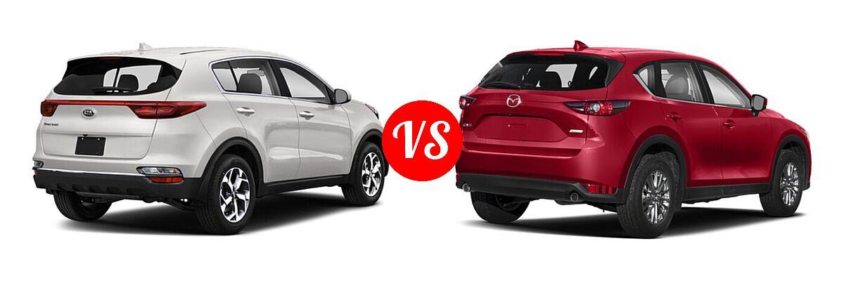 2020 Kia Sportage SUV EX / LX / S / SX Turbo vs. 2020 Mazda CX-5 SUV Signature - Rear Right Comparison