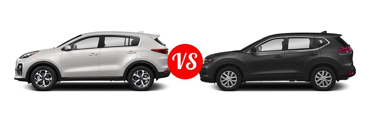 2020 Kia Sportage SUV EX / LX / S / SX Turbo vs. 2020 Nissan Rogue SUV S / SV - Side Comparison