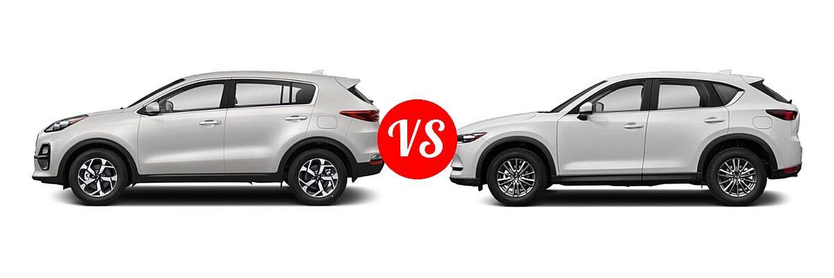 2020 Kia Sportage SUV EX / LX / S / SX Turbo vs. 2020 Mazda CX-5 SUV Sport - Side Comparison
