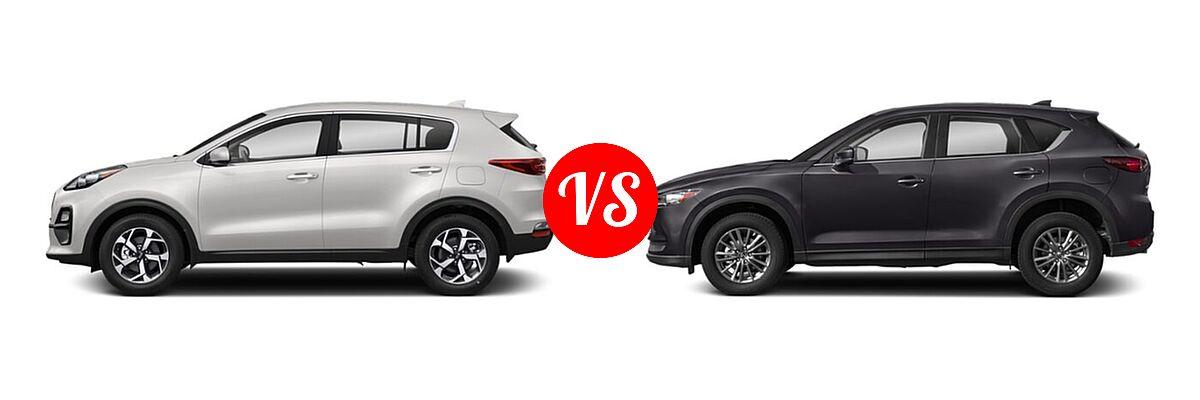 2020 Kia Sportage SUV EX / LX / S / SX Turbo vs. 2020 Mazda CX-5 SUV Touring - Side Comparison