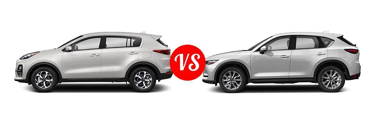 2020 Kia Sportage SUV EX / LX / S / SX Turbo vs. 2020 Mazda CX-5 SUV Grand Touring - Side Comparison