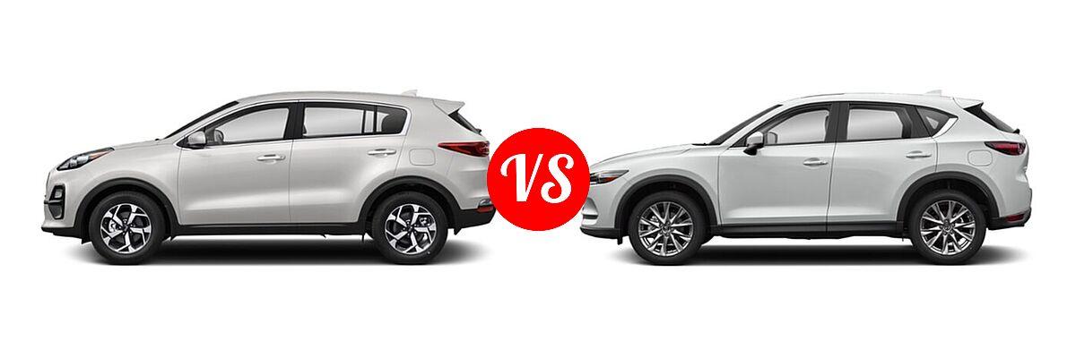 2020 Kia Sportage SUV EX / LX / S / SX Turbo vs. 2020 Mazda CX-5 SUV Grand Touring Reserve - Side Comparison