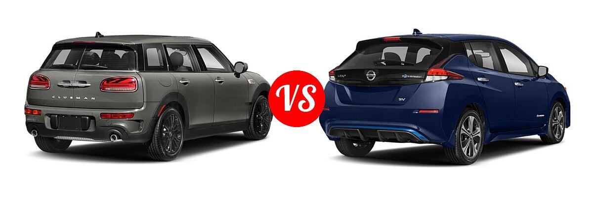 2021 MINI Clubman John Cooper Works Hatchback John Cooper Works vs. 2021 Nissan Leaf Hatchback Electric S / S PLUS / SL PLUS / SV / SV PLUS - Rear Right Comparison