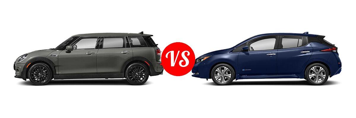 2021 MINI Clubman John Cooper Works Hatchback John Cooper Works vs. 2021 Nissan Leaf Hatchback Electric S / S PLUS / SL PLUS / SV / SV PLUS - Side Comparison