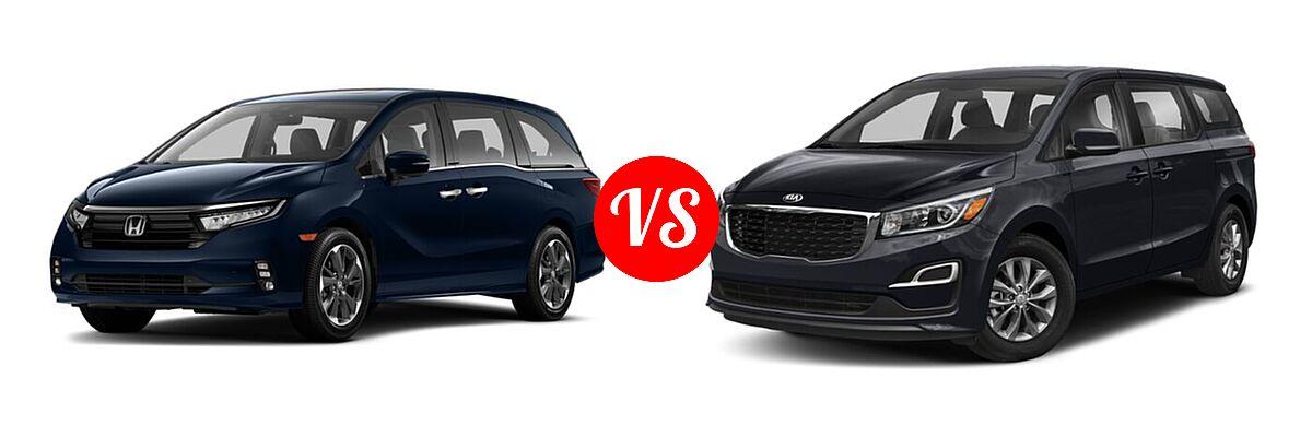 2021 Honda Odyssey Minivan Elite vs. 2021 Kia Sedona Minivan LX - Front Left Comparison