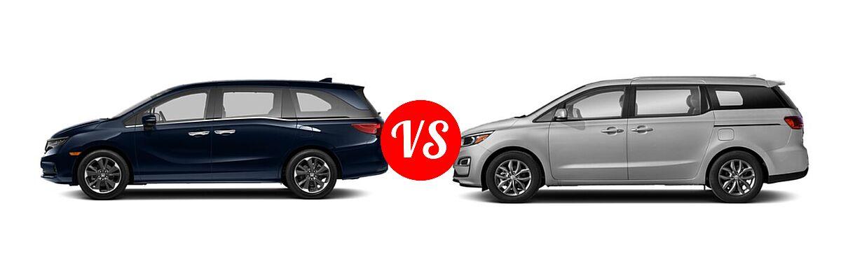 2021 Honda Odyssey Minivan Elite vs. 2021 Kia Sedona Minivan EX - Side Comparison