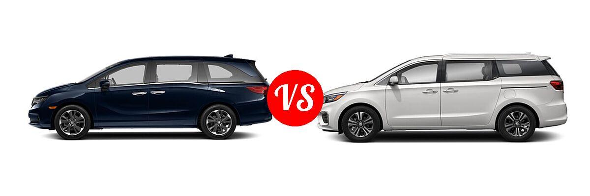 2021 Honda Odyssey Minivan Elite vs. 2021 Kia Sedona Minivan SX - Side Comparison