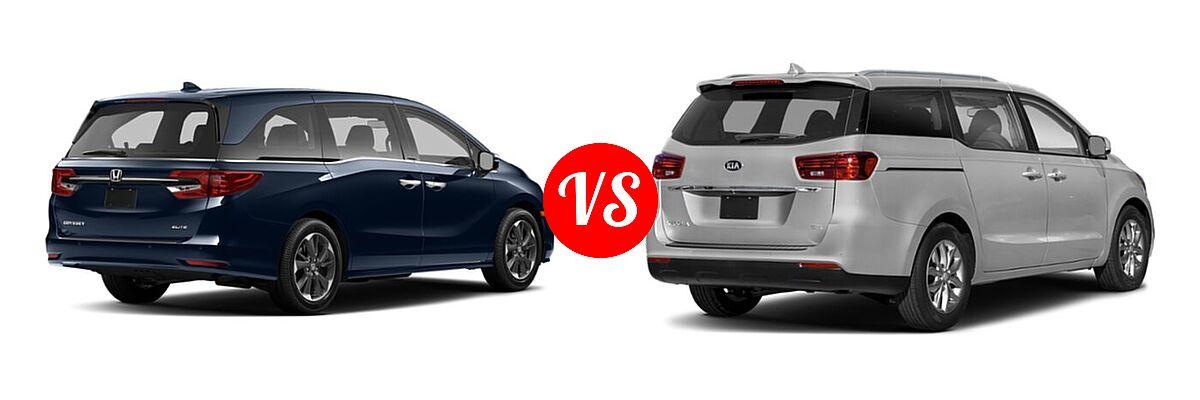 2021 Honda Odyssey Minivan Elite vs. 2021 Kia Sedona Minivan EX - Rear Right Comparison