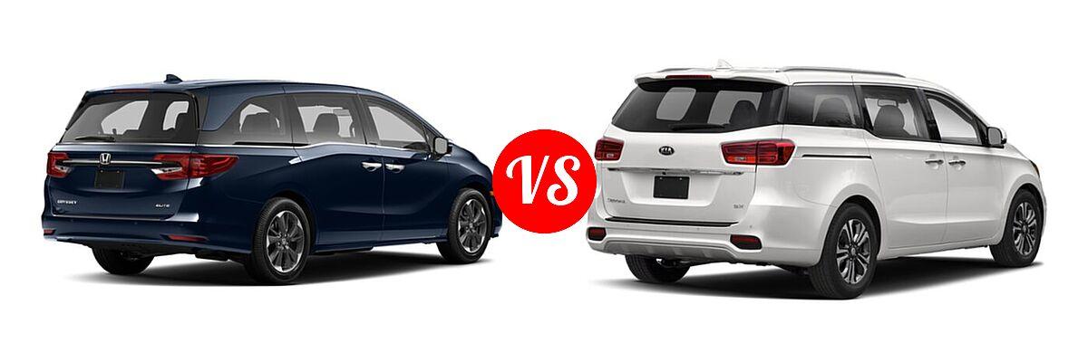 2021 Honda Odyssey Minivan Elite vs. 2021 Kia Sedona Minivan SX - Rear Right Comparison