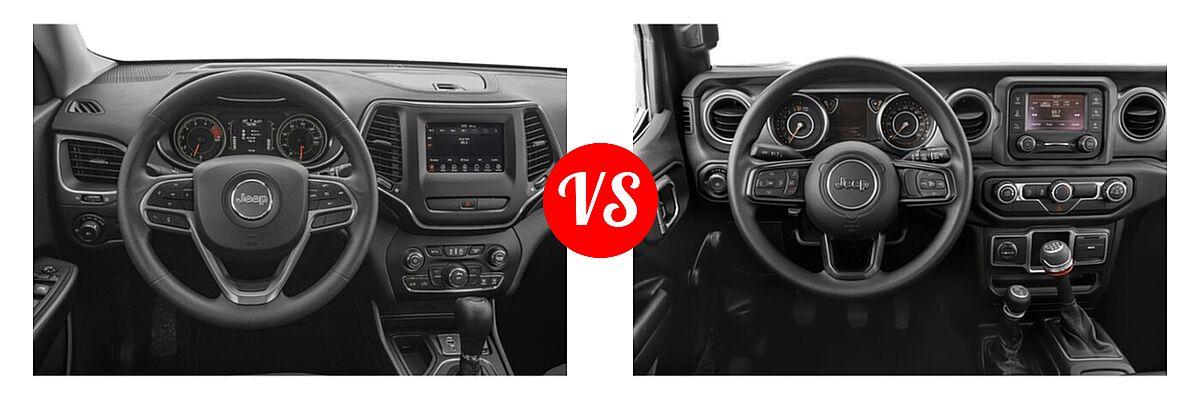 2021 Jeep Cherokee SUV 80th Anniversary / Altitude / High Altitude / Latitude / Latitude Lux / Latitude Plus / Limited vs. 2021 Jeep Wrangler SUV 80th Anniversary / Freedom / Islander / Sport / Sport S / Willys / Willys Sport - Dashboard Comparison