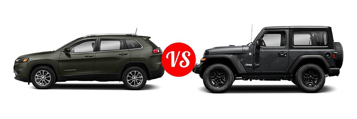 2021 Jeep Cherokee SUV 80th Anniversary / Altitude / High Altitude / Latitude / Latitude Lux / Latitude Plus / Limited vs. 2021 Jeep Wrangler SUV 80th Anniversary / Freedom / Islander / Sport / Sport S / Willys / Willys Sport - Side Comparison