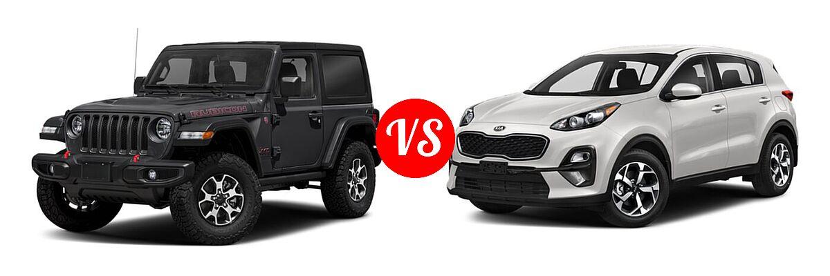 2021 Jeep Wrangler SUV Rubicon vs. 2021 Kia Sportage SUV EX / LX / S / SX Turbo - Front Left Comparison