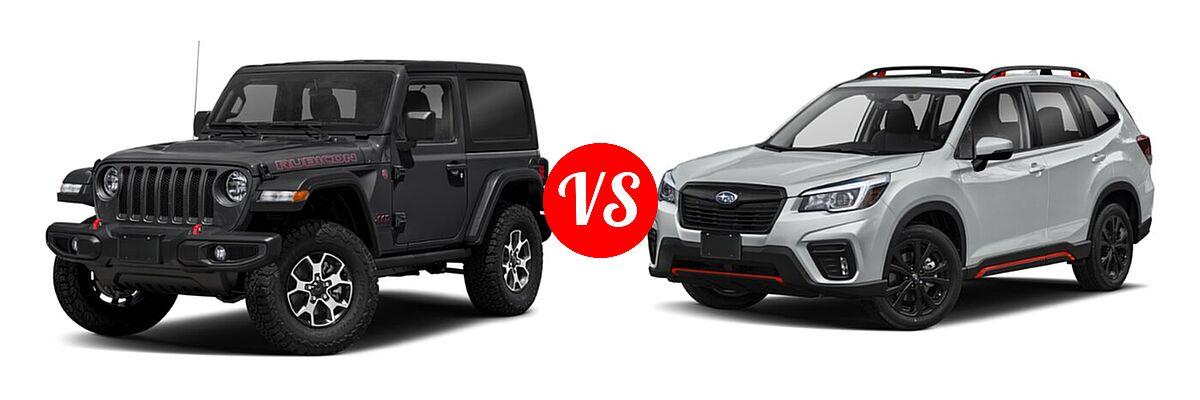 2021 Jeep Wrangler SUV Rubicon vs. 2021 Subaru Forester SUV Sport - Front Left Comparison