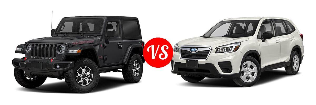 2021 Jeep Wrangler SUV Rubicon vs. 2021 Subaru Forester SUV CVT / Premium - Front Left Comparison