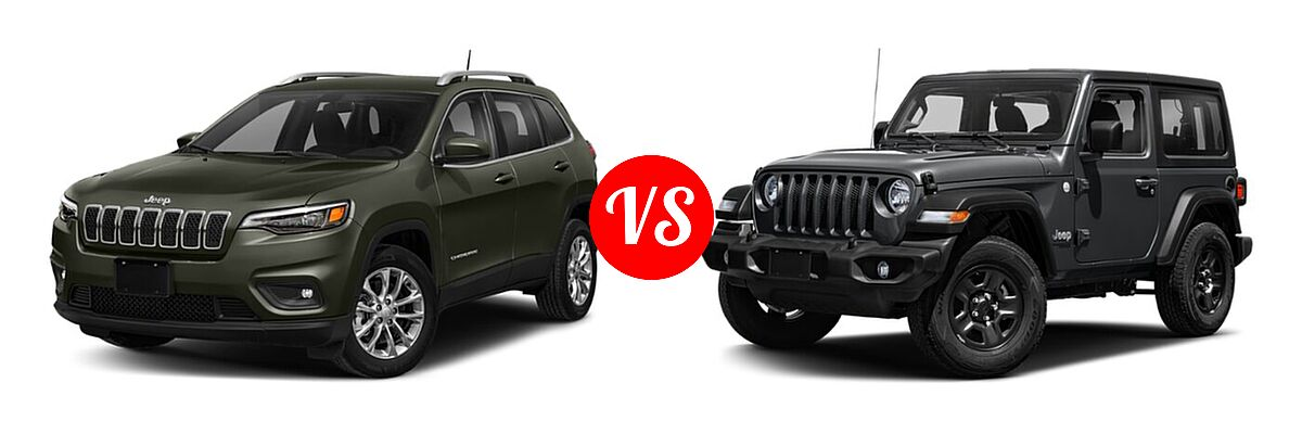 2021 Jeep Cherokee SUV 80th Anniversary / Altitude / High Altitude / Latitude / Latitude Lux / Latitude Plus / Limited vs. 2021 Jeep Wrangler SUV 80th Anniversary / Freedom / Islander / Sport / Sport S / Willys / Willys Sport - Front Left Comparison
