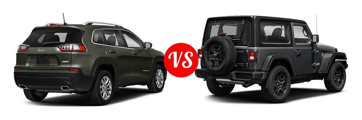 2021 Jeep Cherokee SUV 80th Anniversary / Altitude / High Altitude / Latitude / Latitude Lux / Latitude Plus / Limited vs. 2021 Jeep Wrangler SUV 80th Anniversary / Freedom / Islander / Sport / Sport S / Willys / Willys Sport - Rear Right Comparison