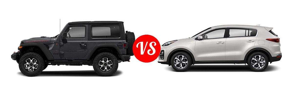 2021 Jeep Wrangler SUV Rubicon vs. 2021 Kia Sportage SUV EX / LX / S / SX Turbo - Side Comparison