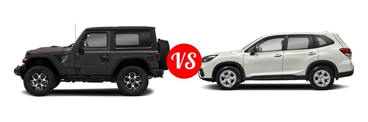 2021 Jeep Wrangler SUV Rubicon vs. 2021 Subaru Forester SUV CVT / Premium - Side Comparison