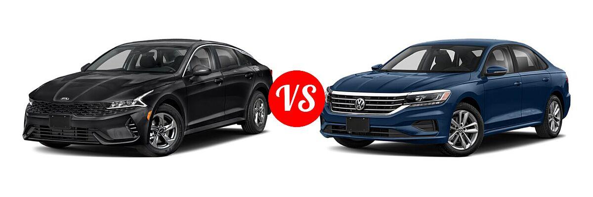 2021 Kia K5 Sedan GT / LX / LXS vs. 2021 Volkswagen Passat Sedan 2.0T S / 2.0T SE - Front Left Comparison