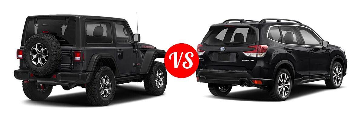 2021 Jeep Wrangler SUV Rubicon vs. 2021 Subaru Forester SUV Limited - Rear Right Comparison