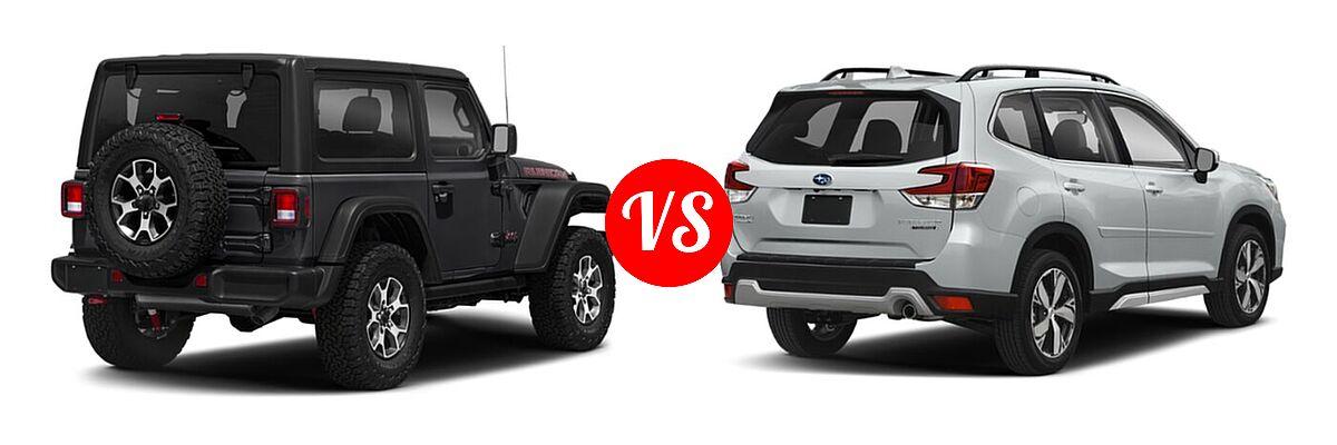 2021 Jeep Wrangler SUV Rubicon vs. 2021 Subaru Forester SUV Touring - Rear Right Comparison