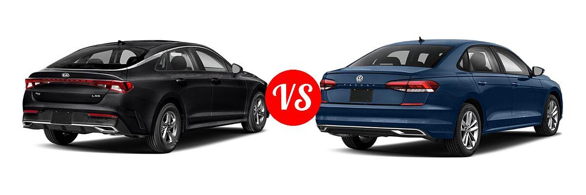 2021 Kia K5 Sedan GT / LX / LXS vs. 2021 Volkswagen Passat Sedan 2.0T R-Line - Rear Right Comparison