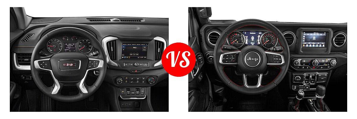 2021 GMC Terrain SUV SL / SLE vs. 2021 Jeep Wrangler SUV Rubicon - Dashboard Comparison