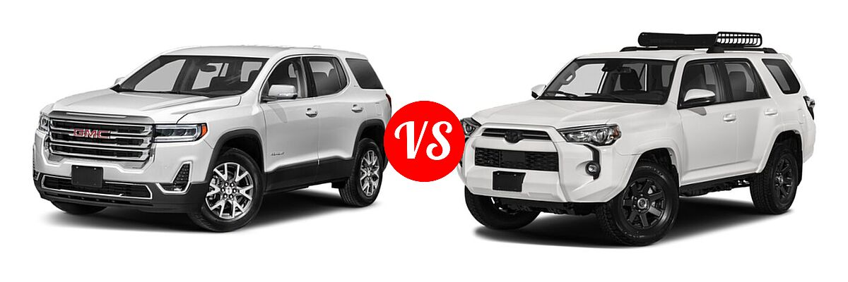 2021 GMC Acadia SUV AT4 / SL / SLE / SLT vs. 2021 Toyota 4Runner SUV Trail Special Edition - Front Left Comparison