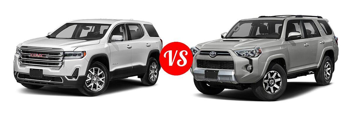 2021 GMC Acadia SUV AT4 / SL / SLE / SLT vs. 2021 Toyota 4Runner SUV TRD Off Road / TRD Off Road Premium - Front Left Comparison