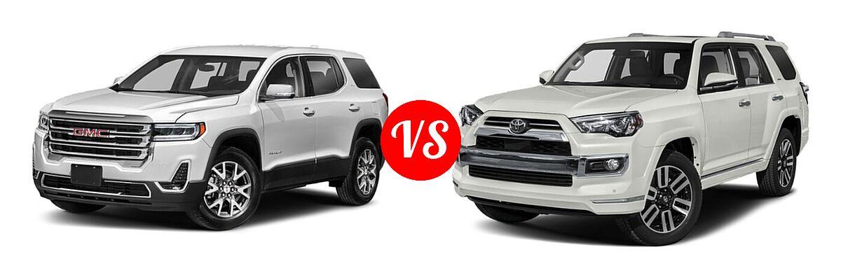 2021 GMC Acadia SUV AT4 / SL / SLE / SLT vs. 2021 Toyota 4Runner SUV Limited - Front Left Comparison