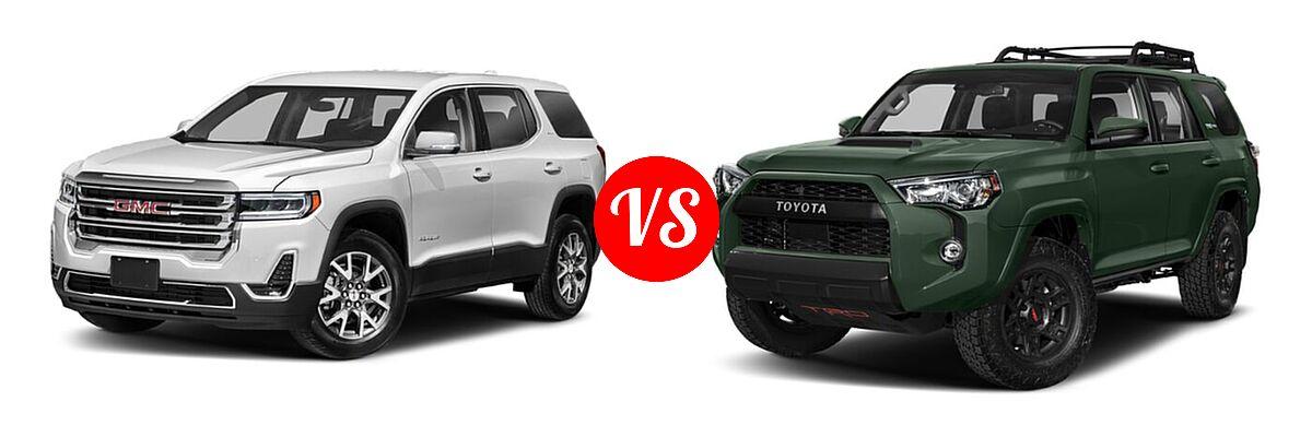 2021 GMC Acadia SUV AT4 / SL / SLE / SLT vs. 2021 Toyota 4Runner SUV TRD Pro - Front Left Comparison