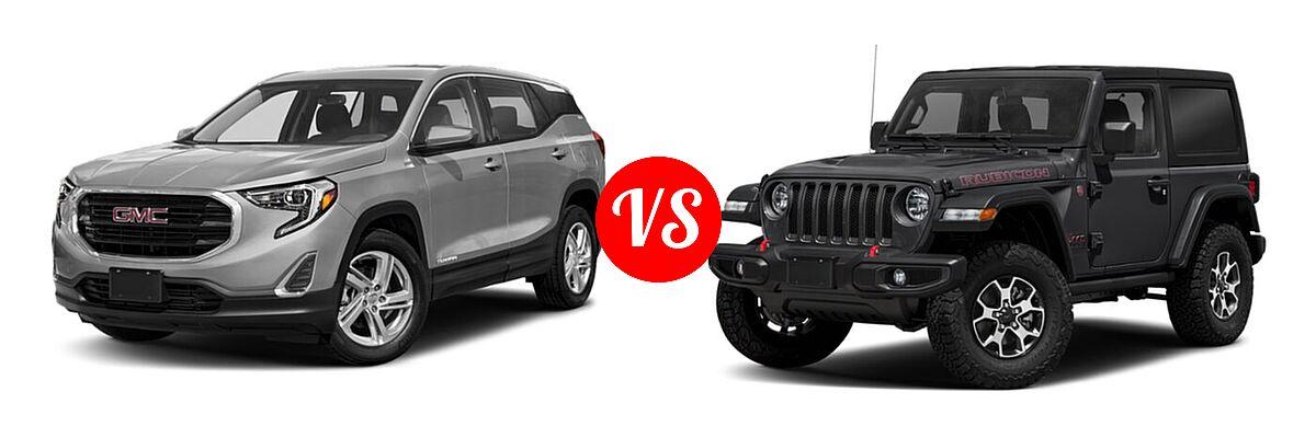 2021 GMC Terrain SUV SL / SLE vs. 2021 Jeep Wrangler SUV Rubicon - Front Left Comparison